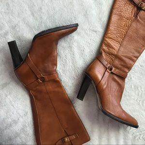 J. Crew Italian Leather Heeled Harness Boots Camel